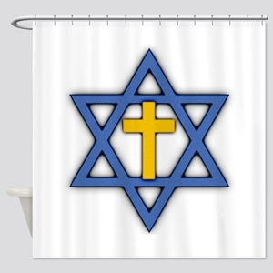 Star of David with Cross Shower Curtain
