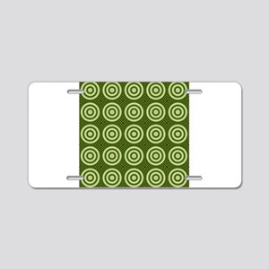 Vintage Green Circles Aluminum License Plate