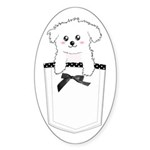 Cute puppy dog in pocket Sticker (Oval 10 pk)