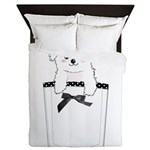 Cute puppy dog in pocket Queen Duvet
