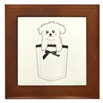 Cute puppy dog in pocket Framed Tile