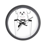 Cute puppy dog in pocket Wall Clock