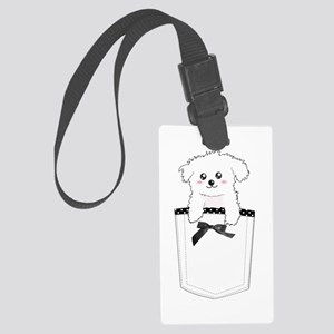 Cute puppy dog in pocket Large Luggage Tag