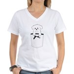 Cute puppy dog in pocket Women's V-Neck T-Shirt