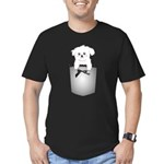 Cute puppy dog in pocket Men's Fitted T-Shirt (dar