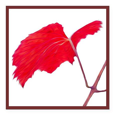 "Red Grape Leaf Square Car Magnet 3"" X 3"""