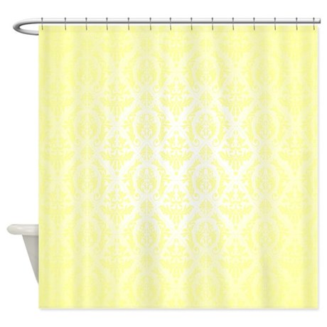 Yellow Faded Damask Shower Curtain