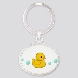 Rubber Duck Oval Keychain