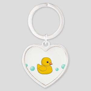 Rubber Duck Heart Keychain