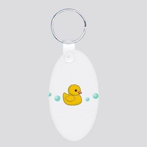 Rubber Duck Aluminum Oval Keychain