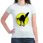 Black Cat & Moon Ringer T-Shirt Minimalist Costume