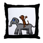 Monkey and Elephant shirt design Throw Pillow