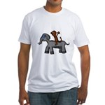 Monkey and Elephant shirt design Fitted T-Shirt
