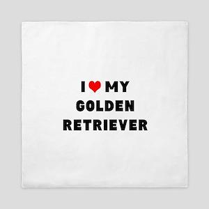 i luv my golden retriever Queen Duvet