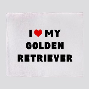 i luv my golden retriever Throw Blanket