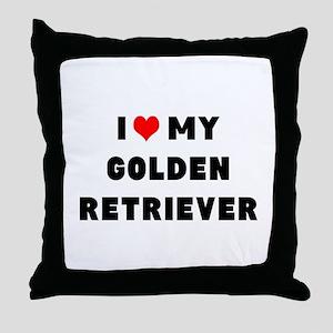 i luv my golden retriever Throw Pillow