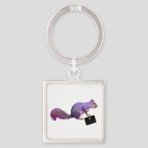 Purple Squirrel Square Keychain