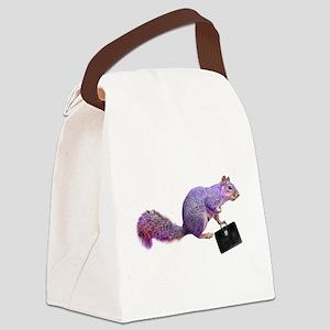 Purple Squirrel Canvas Lunch Bag