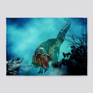 Awesome t-rex with armor 5'x7'Area Rug