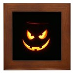 Evil Glowing Jack o'Lantern Face Framed Tile