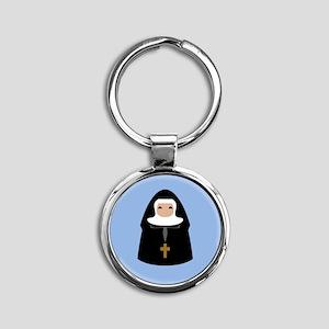 Cute Nun Round Keychain