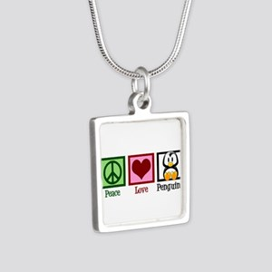 Peace Love Penguins Silver Square Necklace