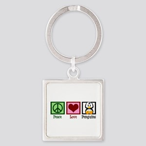 Peace Love Penguins Square Keychain