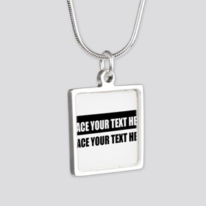 Add text message Silver Square Necklace