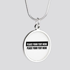 Add text message Silver Round Necklace