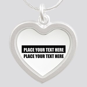 Add text message Silver Heart Necklace