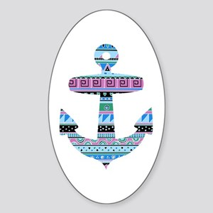 Blue Tribal Anchor Sticker (Oval)