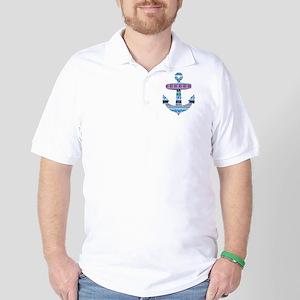 Blue Tribal Anchor Golf Shirt