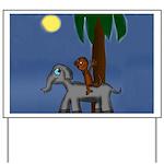 Monkey and Elephant illustration Yard Sign
