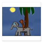 Monkey and Elephant illustration Square Car Magnet