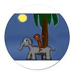 Monkey and Elephant illustration Round Car Magnet