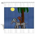 Monkey and Elephant illustration Shower Curtain