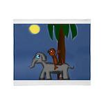 Monkey and Elephant illustration Throw Blanket