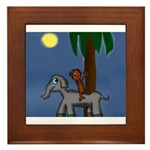 Monkey and Elephant illustration Framed Tile