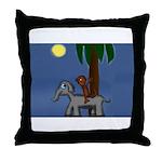 Monkey and Elephant illustration Throw Pillow