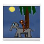Monkey and Elephant illustration Tile Coaster