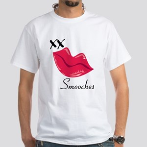 Red Lips Smooches White T-Shirt