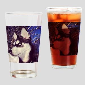 Siberian Husky Puppy Drinking Glass