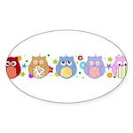 cute owls Sticker (Oval 10 pk)