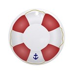 Red and White Life Saver Ornament (Round)