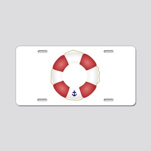 Red and White Life Saver Aluminum License Plate