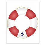 Red and White Life Saver Small Poster