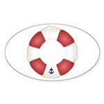 Red and White Life Saver Sticker (Oval 10 pk)
