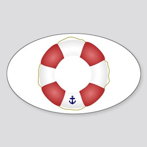 Red and White Life Saver Sticker (Oval)
