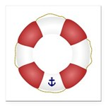 Red and White Life Saver Square Car Magnet 3