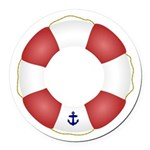 Red and White Life Saver Round Car Magnet
